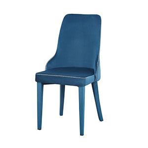 Silla tapizada de tela descansabrazos azul de 86x56x47cm