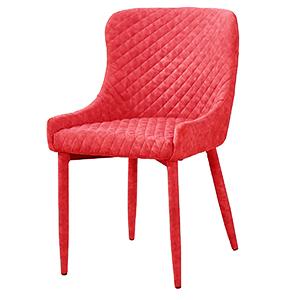 Silla forrada de terciopelo roja diseño rombos