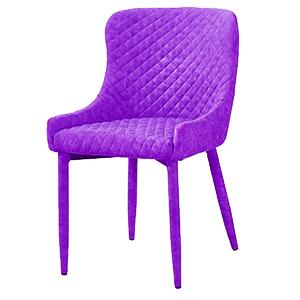 Silla forrada de terciopelo violeta diseño rombos