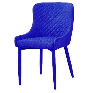 Silla forrada de terciopelo azul diseño rombos