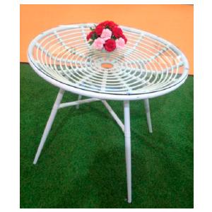 Mesa de fibras plasticas tejida blanca de 90x73cm