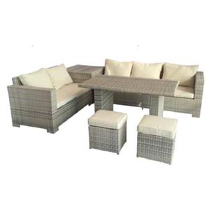Juego de sala c/2 ottomanes 1 taburete y mesa tipo Leisure de fibras plásticas cafés de 1+1+1+1+2