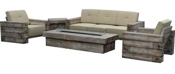 Sala imitación madera vintage con cojines marfil, mesa lateral y chimenea (para gas) 2+1+1+1