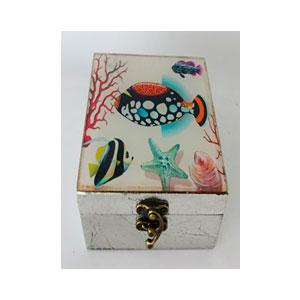 Caja de madera plateada d/vidrio estampado Arrecife de 18x18x10cm