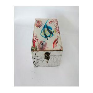 Caja de madera plateada d/vidrio estampado Arrecife de 15x15x8.5cm