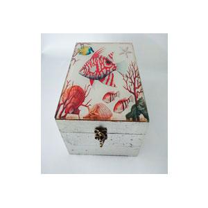 Caja de madera plateada d/vidrio estampado Arrecife de 12x12x6cm