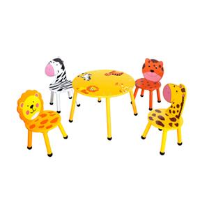 Mesa infantil c/4 sillas diseño animalitos en tonos amarillos de 60x60x42/30x30x51cm