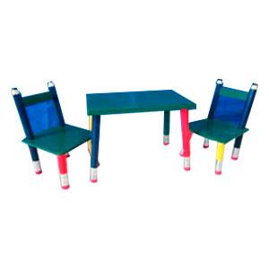 Mesa infantil c/2 sillas verdes con patas diseño Lápices de 60x40x42.5/28x28x54cm