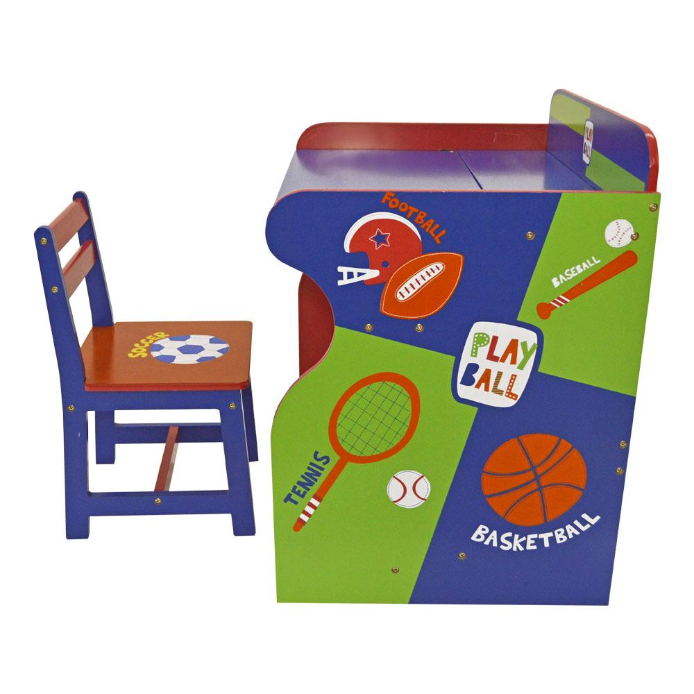 Mesa convertible a escritorio con silla en colores con diseño de balones deportivos de 62x48x66/28x30x51cm