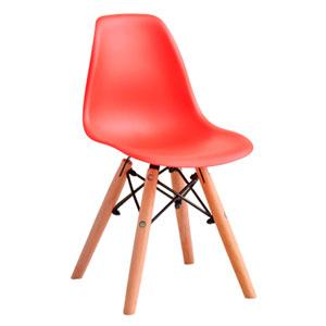 Silla infantil de plástico roja con patas imitación madera de 31x36x55cm