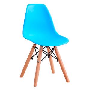 Silla infantil de plástico azul con patas imitación madera de 31x36x55cm