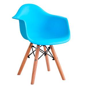 Silla infantil de plástico azul c/descansabrazos y patas imitación madera de 42x42x55cm