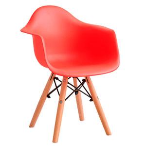 Silla infantil de plástico roja c/descansabrazos y patas imitación madera de 42x42x55cm