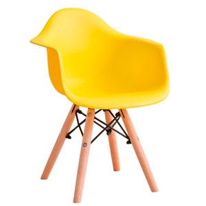 Silla infantil de plástico amarilla c/descansabrazos y patas imitación madera de 42x42x55cm