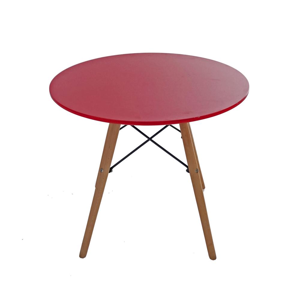 Mesa infantil de madera roja con patas imitación madera de 60x60x49.5cm