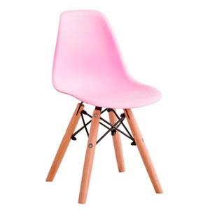 Silla infantil de plástico rosa con patas imitación madera de 31x36x55cm