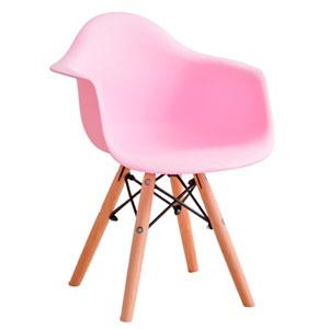 Silla infantil de plástico rosa c/descansabrazos y patas imitación madera de 42x42x55cm