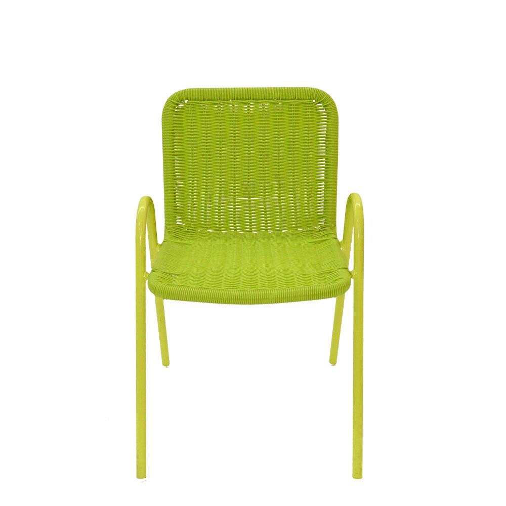 Silla infantil con descansabrazos tejida verde de 38x38x55cm