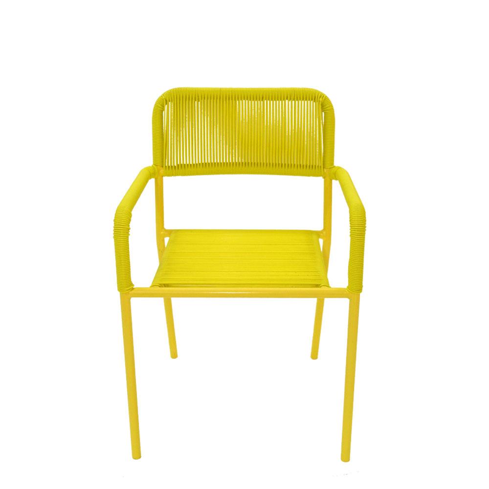 Silla infantil c/descansabrazos de fibras plásticas amarilla de 38x37x57cm