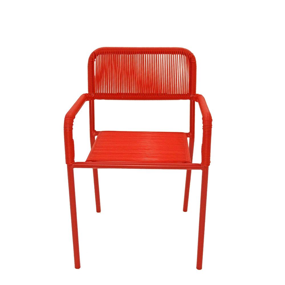 Silla infantil c/descansabrazos de fibras plásticas roja de 38x37x57cm
