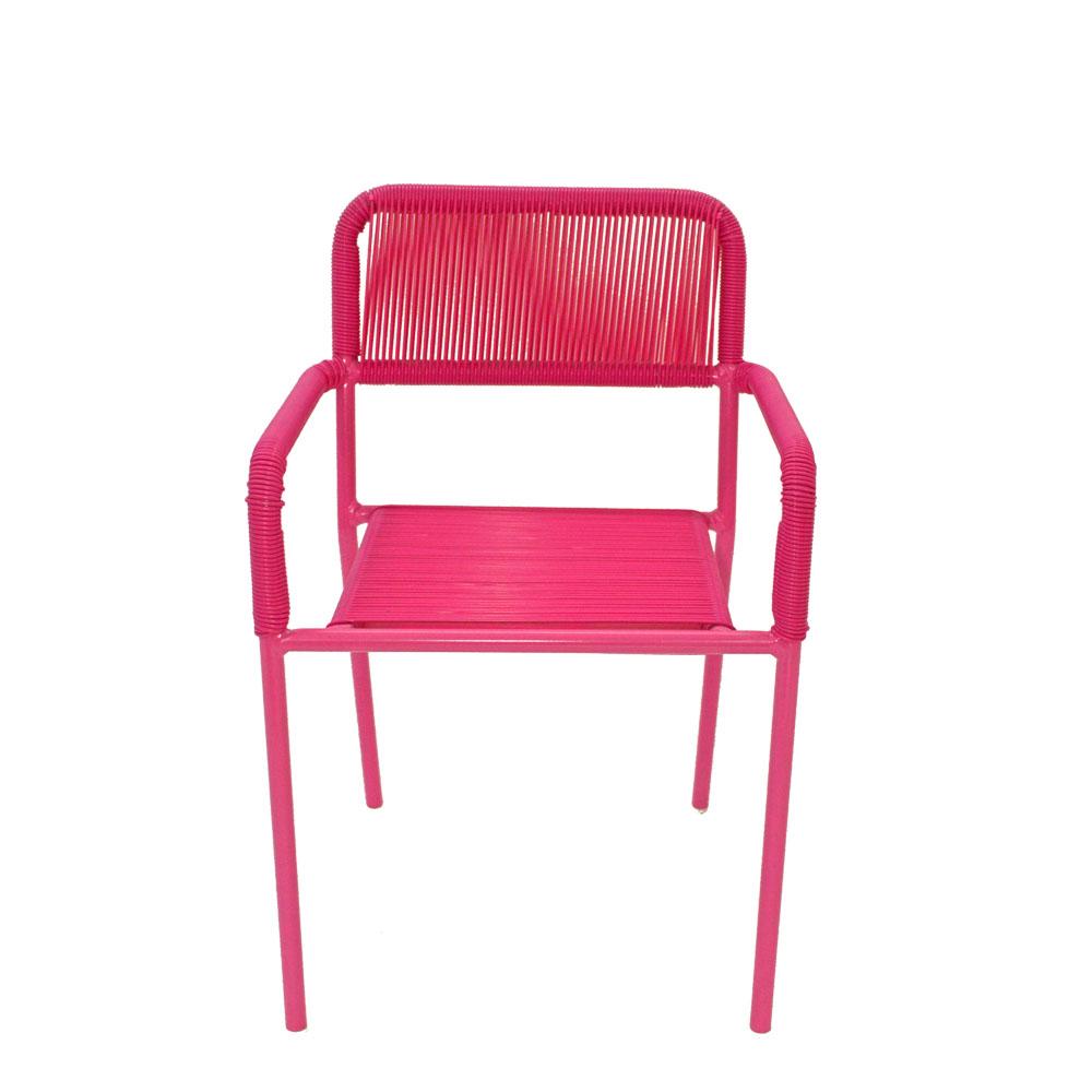 Silla infantil c/descansabrazos de fibras plásticas rosa de 38x37x57cm