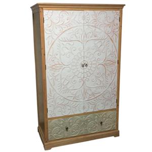 Armario de madera con puertas labradas diseño flores blancas de 114x56x185cm