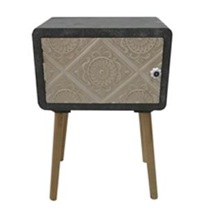 Cómoda de madera gris con puerta labrada blanca de 40x30x55cm