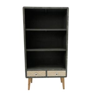 Mueble gris con entrepaños y 2 cajones grabados blancos de 65x30x125cm