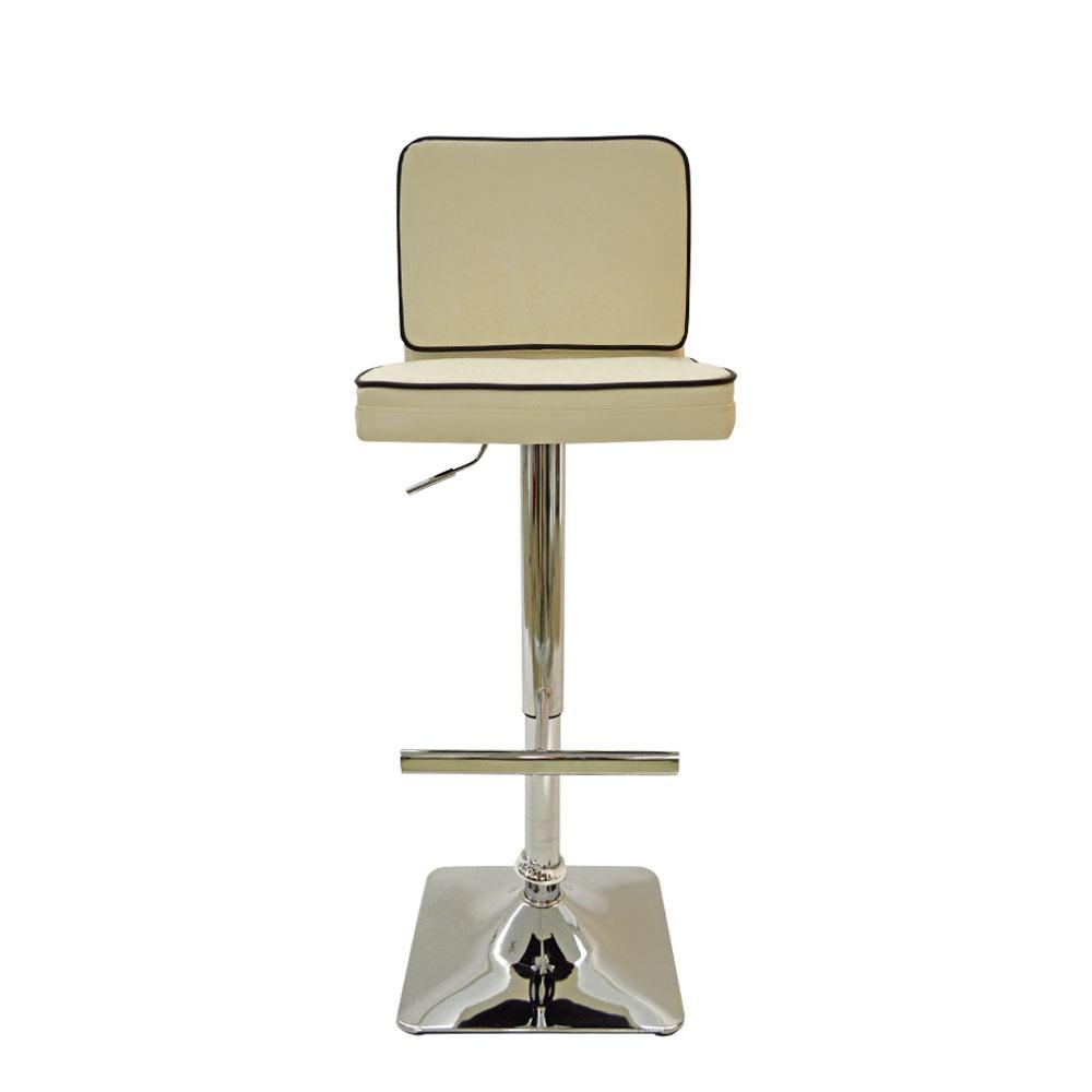 Silla de bar de polipiel blanca con altura ajustable de 41x47x92.5-113cm