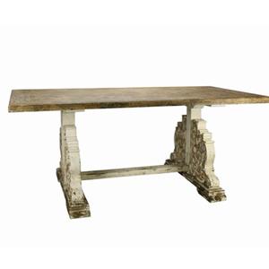 Mesa rectangular de madera con base labrada de 195.5x104.5x85cm