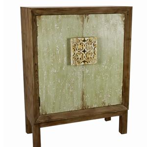 Cómoda de madera café con puertas diseño de cuadro labrado en el centro de 82.5x36x110.5cm
