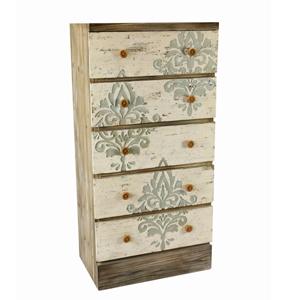 Cajonera de madera con 5 cajones estampado de flores de 60x38x121cm