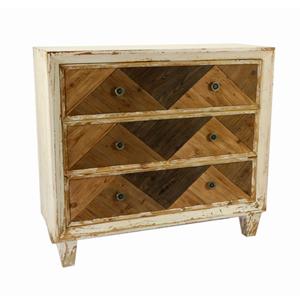 Cajonera de madera blanca con 3 cajones en tonos cafés de 98x36x89cm