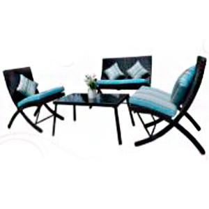 Juego de sala de metal con mesa y cojines azules 2+1+1