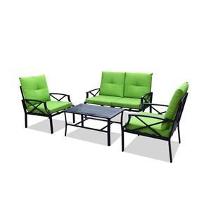 Juego de sala de fibras plásticas con mesa y cojines verdes 2+1+1