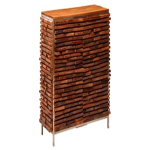 Armario de metal de forrada trozos de madera de 108x45x190cm