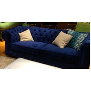 Sillón doble de terciopelo con respaldo capitoneado color azul con 2 cojines de 200x84x85cm