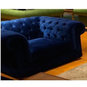 Sillón individual de terciopelo con respaldo capitoneado color azul con 2 cojines de 110x84x85cm