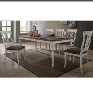 Mesa de madera color ivory de 160x90x75 cm expandible a 2 m c/ 6 sillas con asiento tapizado café
