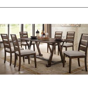 Mesa de madera rustica café de 180x100x75 cm con 6 sillas y asiento tapizado