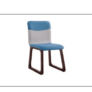 Silla de madera forrada de tela azul con gris de 84x53x46cm