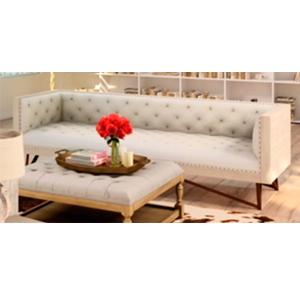 Loveset de madera beige con asientos capitoneados cafés de 210x78x72cm