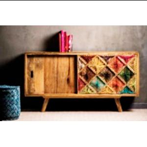 Trinchador de madera con diseño de hilos de colores de 160x45x86 cm