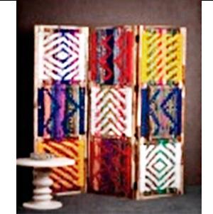 Biombo con diseños hilos en colores de 155x2.5x183 cm