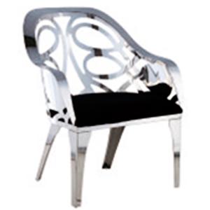 Sillon de metal diseño calado forrada de terciopelo en color  negro de 70x68x88cm