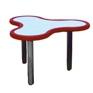 Mesa diseño Trébol de plástico en color rojo con gris de 85x75x55cm