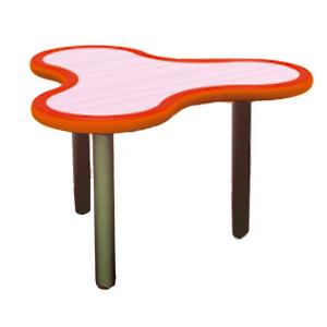 Mesa diseño Trébol de plástico en color naranja con gris de 85x75x55cm