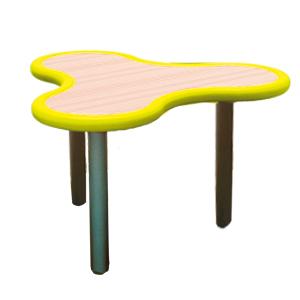 Mesa diseño Trébol de plástico en color amarillo con gris de 85x75x55cm