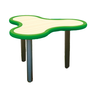 Mesa diseño Trébol de plástico en color verde con gris de 85x75x55cm