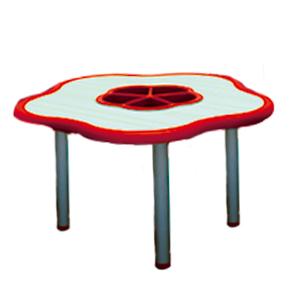 Mesa diseño flor de plástico en color roja con gris de 85x75x55cm